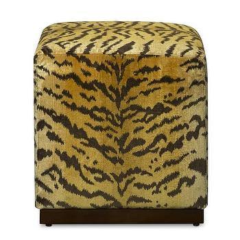 Seating - Robertson Cube in Scalamandre Tiger I WSHome - tiger print cube, tiger print ottoman cube, animal print cube, scalamandre tiger cube,