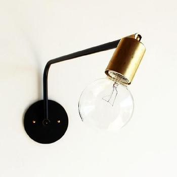 Lighting - Hard-wired swing-arm lamp I onefortythree - black and brass wall lamp, brass swing arm wall lamp, exposed bulb swing arm lamp,