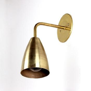 Lighting - Brass shaded wall sconce I onefortythree - brass wall sconce, modern brass wall sconce, brass shade wall sconce,