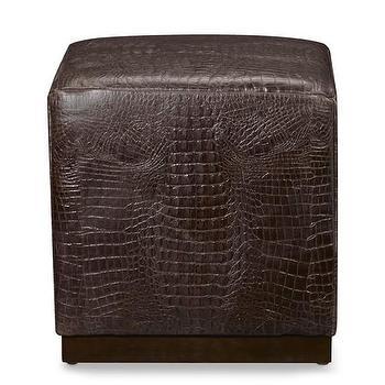 Seating - Robertson Cube, Faux Crocodile Chocolate I WSHome - faux croc cube, faux crocodile cube, brown faux croc cube,