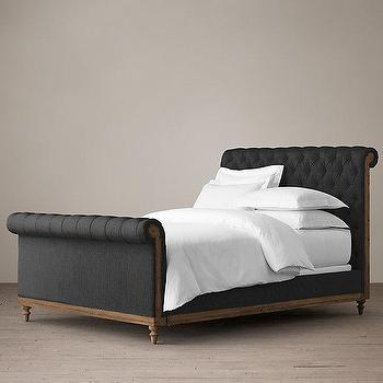 Beds/Headboards - Deconstructed Chesterfield Sleigh Bed With Footboard I Restoration Hardware - deconstructed chesterfield bed, black chesterfield bed, black linen tufted bed, black button tufted bed,
