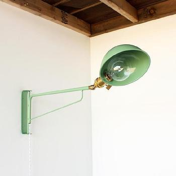 Lighting - Industrial wall lamp I onefortythree - green metal wall lamp, industrial green wall lamp, green swing arm wall lamp,