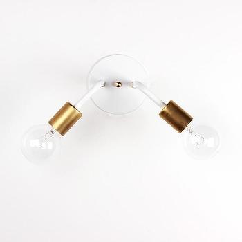 Lighting - Wall sconce [Single & Double] I onefortythree - powdercoated steel and brass sconce, modern white and brass sconce, two arm exposed bulb sconce, sconce with exposed bulb,