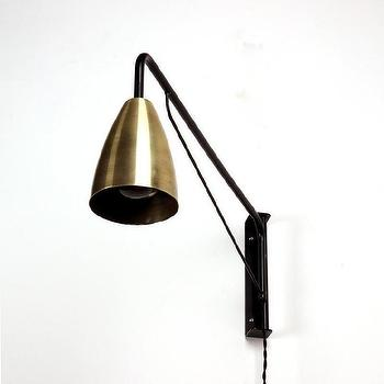 Lighting - Shaded Otis light I onefortythree - black wall lamp with brass shade, modern black and brass wall lamp, swing arm brass wall lamp, modern swing arm lamp,