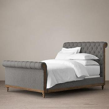 Beds/Headboards - Deconstructed Chesterfield Sleigh Bed With Footboard I Restoration Hardware - chesterfield bed, gray chesterfield bed, gray linen button tufted bed,