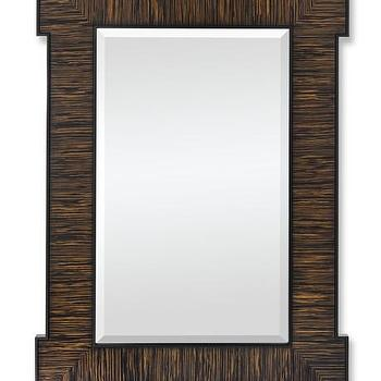 Mirrors - Corner Detail Wall Mirror, Zebrawood I WSHome - zebra wood mirror, zebra wood mirror, wood and lacquer mirror,