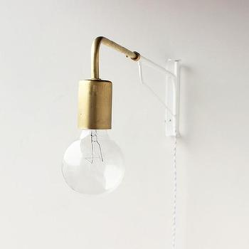 Lighting - Telescoping Otis light I onefortythree - white and brass wall lamp, modern white and brass sconce, telescoping wall lamp, telescoping wall sconce, modern plug in wall lamp,
