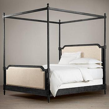 Beds/Headboards - Vienne French Four-Poster Bed I Restoration Hardware - french canopy bed, upholstered canopy bed, black french canopy bed, french four poster bed, four poster upholstered bed,