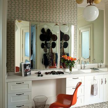 Dalla Polvere - bathrooms - modern orange chair, glossy orange chair, sculptural orange chair, eclectic bathroom, bathroom dressing table, bathroom make up vanity, sink vanity with dressing area, sink vanity with make up counter, wire wastebasket, nickel cabinet pulls, tri fold vanity mirror, tri fold dressing table mirror, tri fold mirror, painted cement tile, gray painted cement tile, painted floor tile, square porcelain sink, square vanity sink, his and hers sinks, vintage glass orb chandelier, gooseneck bathroom faucet, bathroom wallpaper, green and beige patterned wallpaper, green and beige wallpaper, vanity chair ideas, orange panton chair, orange vanity chairs, folding vanity mirror, gray mosaic floors,