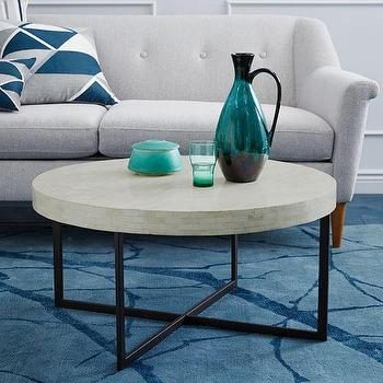 Tables - Low Bone Coffee Table I West Elm - bone inlaid coffee table, bone inlay coffee table, round bone inlay coffee table,