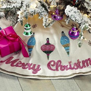 Miscellaneous - A Merry Little Tree Skirt I Wisteria - vintage style tree skirt, beaded christmas tree skirt, beaded xmas tree skirt,