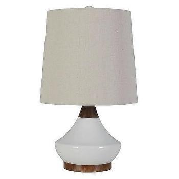 Lighting - Threshold Ceramic Table Lamp - True White I Target - mid century style lamp, vintage style ceramic lamp, ceramic and wood lamp,