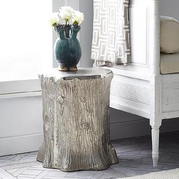 Tables - Metallic Faux-bois Stool  I Wisteria - faux bois stool, silver faux bois stool, silver stump stool,