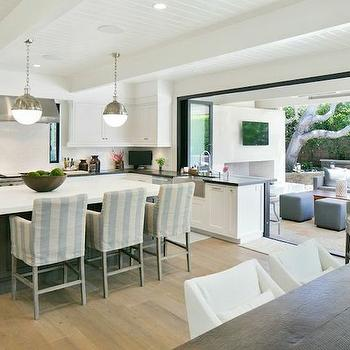 Striped Barstools, Transitional, kitchen, Kelly Nutt Design