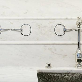 Kelly Nutt Design - kitchens - marble countertop marble kitchen countertop, hammered sink, hammered kitchen sink, hammered metal sink, marble backsplash, marble slab backsplash, horsebit, horsebit hardware, hook and spout faucet, marble pencil rail,
