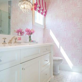 Pink Parisian Wallpaper, Transitional, bathroom, Kelly Nutt Design