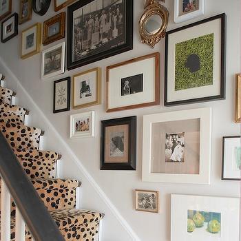 Erin Gates Design - entrances/foyers - stair runner, cheetah stair runner, glenn eden carpets, staircase wall art gallery, art gallery on staircase wall, black and white staircase, staircase art gallery, staircase art wall,
