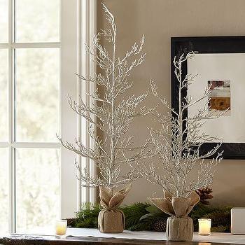 Miscellaneous - Champagne Glitter Trees I Pottery Barn - glitter christmas tree, silver christmas tree, silver christmas tree decor,