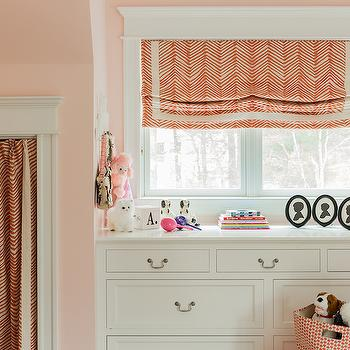 Erin Gates Design - girl's rooms - zigzag fabric, zig zag fabric, zug zag window treatments, zig zag roman shades, zig zag curtains, built in dresser, kids built in dresser, playroom nook, pink leather pouf, pink moroccan pouf,