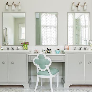 Mint Green Vanity Chair, Transitional, bathroom, Erin Gates Design