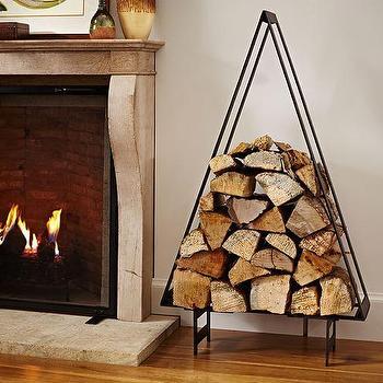 Miscellaneous - Tree Log Holder I Pottery Barn - tree fireplace wood holder, tree shaped firewood holder, firewood holder, christmas tree firewood holder,