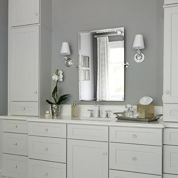 Summit Signature Homes - bathrooms - ivory cabinets, ivory bathroom cabinets, ivory vanity, ivory sink vanity, ivory washstand, white marble countertop, pivot mirror, rectangular pivot mirror, wilshire sconce, muse sconce, vanity sconces, bathroom sconces, bathroom wall lights, ivory and gray bathrooms, crystal knobs,