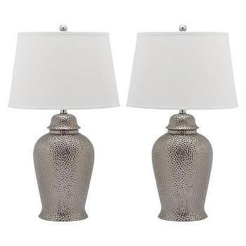 Lighting - Safavieh Polina Table Lamp (Set of 2) I Target - hammered metal ginger jar lamp, hammered silver table lamp, silver ginger jar lamp,