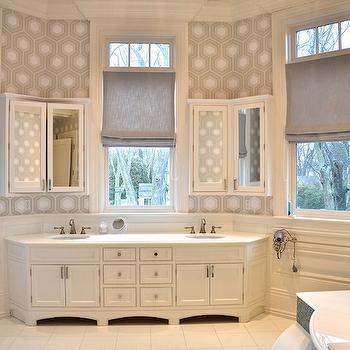 D2 Interieurs - bathrooms - gray linen window shade, gray roman shade, gray linen roman shade, hex wallpaper, geometric gray wallpaper, bathroom bay window, bay window sink vanity, bay window sink console, sink vanity in bay window, inset sink vanity, white floor tile, white square floor tile, white counters, dual sink vanity, angled sink vanity, white and gray geometric wallpaper, hexagonal print wallpaper, gray and white bathroom ideas, modern bathroom wallpaper, wainscoting, bathroom wainscoting, nickel towel rail, transom over window, angled medicine cabinet, bay window medicine cabinet, mirrored two door medicine cabinet, two door medicine cabinet, mirror front medicine cabinet, gray hex wallpaper, hexagon wallpaper, gray hexagon wallpaper, bay window bathroom, angled washstand, his and her medicine cabinets, wainscoting, bathroom wainscoting,