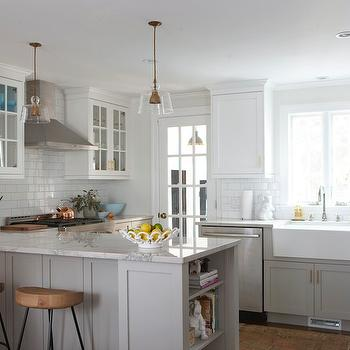 Bianco Macabus Quartzite, Transitional, kitchen, Benjamin Moore Cape May Cobblestone, Erin Gates Design