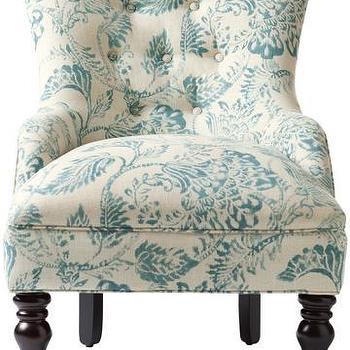 Seating - Custom Elaine Accent Chair | HomeDecorators.com - blue floral accent chair, blue and ivory floral chair, blue floral button tufted chair,