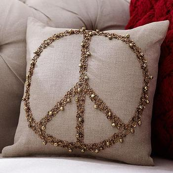 Pillows - Jingle Peace Embellished Filled Pillow Benefiting St. Jude I Pottery Barn - peace sign pillow, beaded peace sign pillow, gold peace sign pillow,
