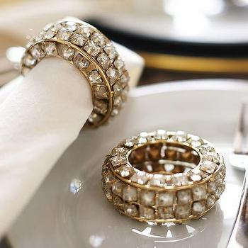 Decor/Accessories - Crystal Bracelet Napkin Ring, Set of 4 I Pottery Barn - crystal napkin ring, crystal beaded napkin ring, crystal and brass napkin ring,
