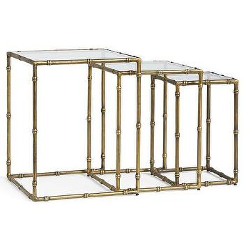 Tables - McKinley Nesting Tables I Pottery Barn - antique brass nesting tables, brass nesting tables, brass and glass nesting tables,