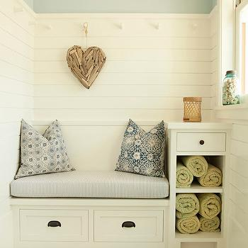 Tim Barber - laundry/mud rooms - mudrooms, mudroom ideas, cottage mudrooms, mudroom bench, built in bench, built in mudroom bench, half painted walls, half painted mudroom walls, mudroom paneling, paneled mudrooms, blue gray walls, blue gray paint colors, heart driftwood, driftwood heart, builtin storage bench, mudroom storage bench, built in bench with drawers, built in cubbies, mudroom cubbies, subway tiles, subway tiled floors,