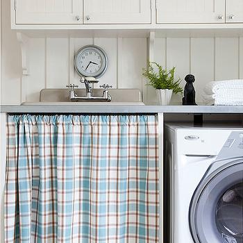 Scott Yetman - laundry/mud rooms - cottage laundry rooms, cottage laundry, cottage laundry room ideas, beadboard cabinets, ivory beadboard cabinets, laundry room cabinets, beadboard laundry cabinets, ivory laundry cabinets, ivory laundry room cabinets, laundry room clocks, laundry sink, laundry room sink, skirted laundry sink, skirted laundry room sink, gingham skirted sink, gingham skirted laundry room sink, gray sink, gray utility sink, gray laundry sink, skirted utility sink, gray countertops,