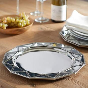 Decor/Accessories - Mirror Faceted Charger I Pottery Barn - mirrored plate charge, faceted mirror charger, mirrored charger,