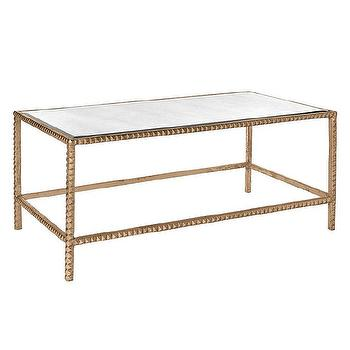 Tables - Emporium Home Stud Coffee Gold Table I Zinc Door - antique gold coffee table, antiqued gold coffee table, gold mirror topped coffee table, modern gold leaf coffee table,