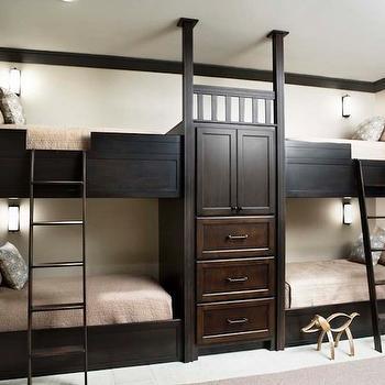 Linda McDougald Design - boy's rooms - kids bunk rooms, sleepover room, espresso bunk beds, boys bunk beds, built in bunk beds, bunk bed ladders, kids bedding, builtin closet, built in wardrobe, built in drawers, built in dressers,