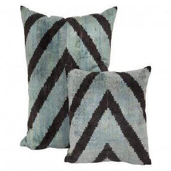 Pillows - Isla Pillows I Jayson Home - navy and turquoise velvet pillow, chevron velvet pillow, blue chevron velvet pillow,