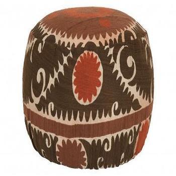 Seating - Suzani Pouf I Jayson Home - vintage suzani pouf, brown and red suzani pouf, round suzani pouf,