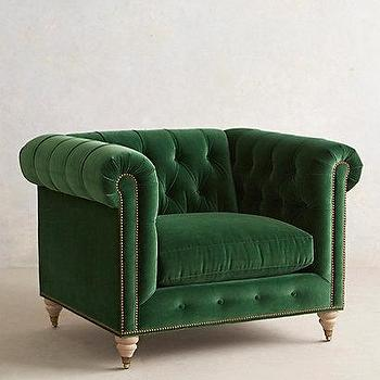 Velvet Lyre Chesterfield Armchair I Anthropologie