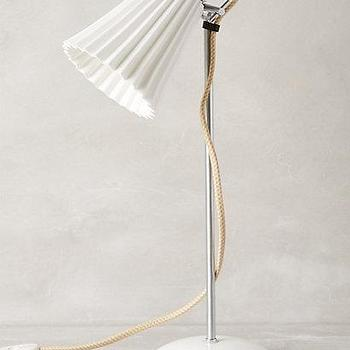 Lighting - Hector Pleat Table Lamp I Anthropologie - bone china and brass lamp, fluted white desk lamp, vintage china table lamp, vintage style desk lamp, table lamp with pleated shade,