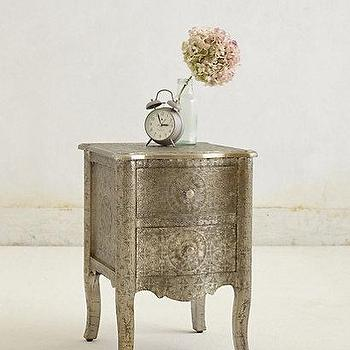 Storage Furniture - Hand-Embossed Nightstand I Anthropologie - embossed metal nightstand, embossed bedside table, metal embossed nightstand,