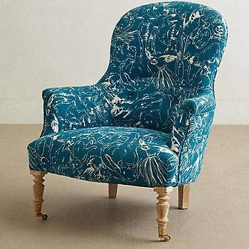 Seating - Printed Parker Armchair I Anthropologie - peacock blue armchair, peacock blue floral armchair, teal blue armchair,
