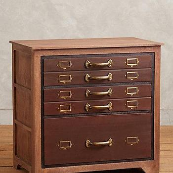 Storage Furniture - Three-Drawer Printmakers Dresser I Anthropologie - printmakers dresser, file cabinet style dresser, vintage style printmakers dresser,