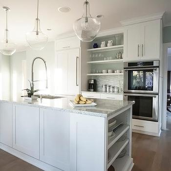 Bianco Romano Granite Countertops, Contemporary, kitchen, Benjamin Moore Woodlawn Blue, Mandy Brown Architects