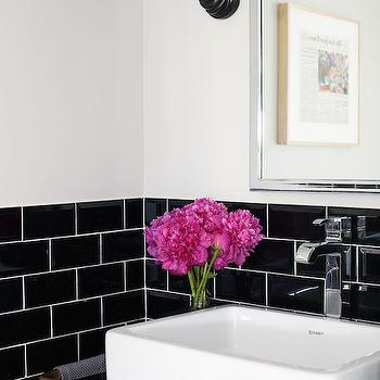Black Subway Tiles, Transitional, bathroom, Lonny Magazine