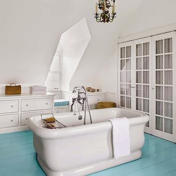 Turquoise Plank Floors, Cottage, bathroom, Sherwin Williams Tidewater, House Beautiful