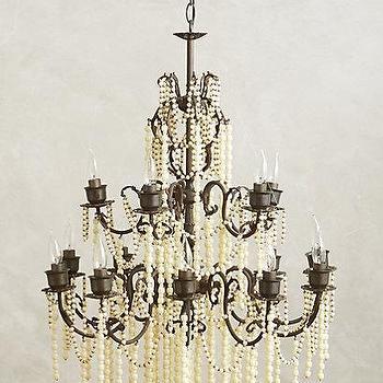 Lighting - Hand-Beaded Melange Chandelier I Anthropologie - ivory beaded chandelier, ivory and brass chandelier, vintage beaded chandelier,
