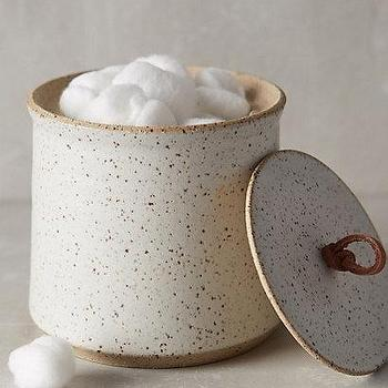 Decor/Accessories - Speckled Stone Canister I Anthropologie - stoneware canister, speckled stoneware canister, speckled lidded canister,